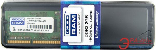 Оперативная память SO-DIMM DDR3 2 Gb 1600 МГц Goodram Blister (GR1600S364L11/2G)