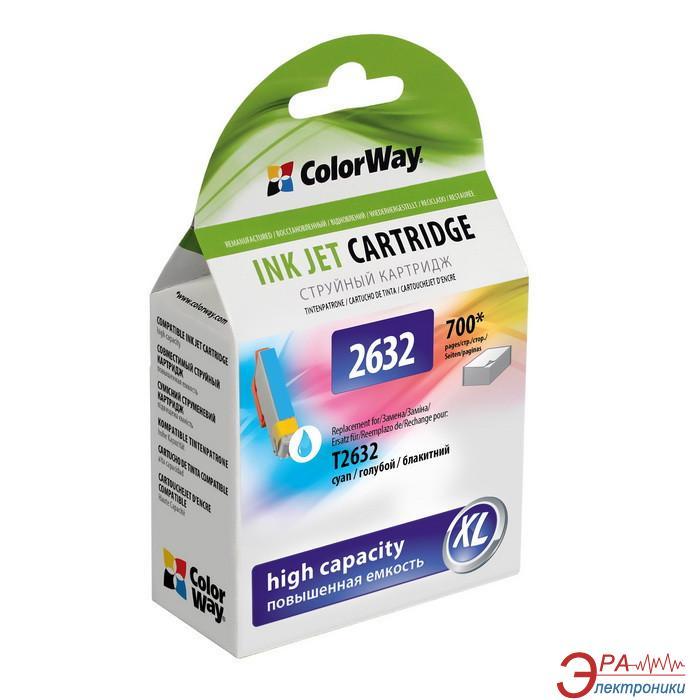 Совместимый картридж ColorWay 26XL (CW-EPT2632) (Epson XP600/ 605/ 700) Cyan
