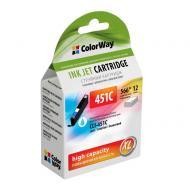 Совместимый картридж ColorWay CW-CLI-451C (Pixma iP7240/ MG5240/ MG5540/ MG6340/ MG6440/ MG7140/ MX924) Cyan