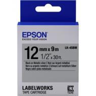 Лента клеящаяся Epson LK4SBM Metallic Black Silver 12mm 9m (C53S654019)