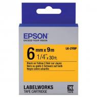 Лента клеящаяся Epson LK2YBP Pastel Black/Yellow 6mm/9m (C53S652002)