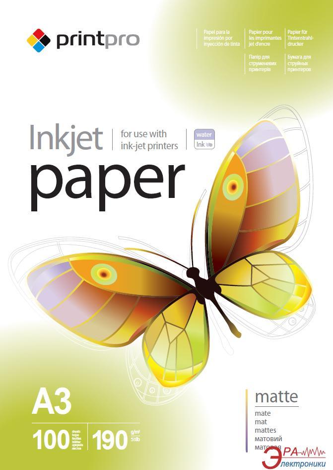 Бумага для фотопринтера PrintPro A3 190g/m2 100л (PME190100A3)