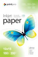 Бумага для фотопринтера PrintPro 10x15 200g/m2 100л (PGE2001004R)