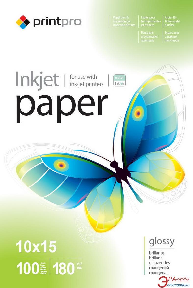 Бумага для фотопринтера PrintPro 10x15 180g/m2 100л (PGE1801004R)