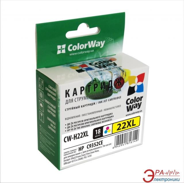 Совместимый картридж ColorWay CW-H22XL (DeskJet: 3910 / 3918 / 3920 / 3930 / 3938 / 3940 / D1311 / D1320 / D1330ser / D1341 / D1360ser / D14) (C, M, Y)