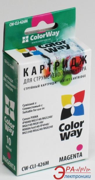 Совместимый картридж ColorWay CW-CLI-426M (PIXMA MX884/IP4840 /MG5140/MG5240/ MG6140/IX6540/ MG8140/IP4940/ MG5340/MG6240/MG8240) Magenta