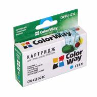 Совместимый картридж ColorWay (CW-CLI-521C) (PIXMA MP540 / MP550 / MP560 / MP620 / MP630 / MP640 / MX860 / MX870 / MP980 / MP990 / IP3600 / IP46 Cyan
