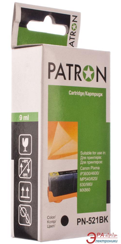 Совместимый картридж Patron CLI-521Bk (PN-521BK)(CI-CAN-CLI-521-B-PN) (PIXMA iP3600/ 4600, MP540/ 620/ 630/ 980, MX860) Black