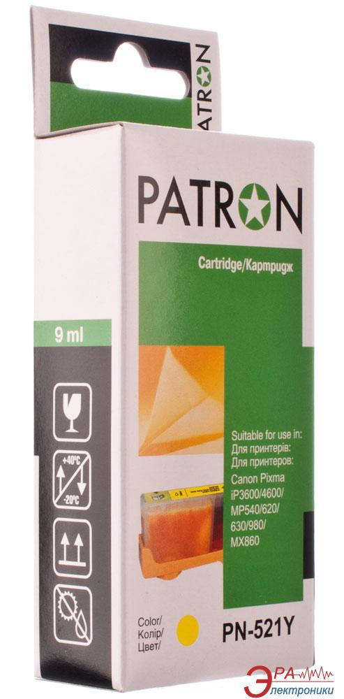 Совместимый картридж Patron CLI-521Y (PN-521Y)(CI-CAN-CLI-521-Y-PN) (PIXMA iP3600/ 4600, MP540/ 620/ 630/ 980, MX860) Yellow
