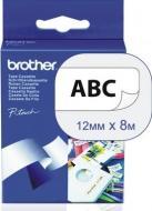 Лента клеящаяся Brother 12mm Laminated white эластичная_Print black (TZFX231)