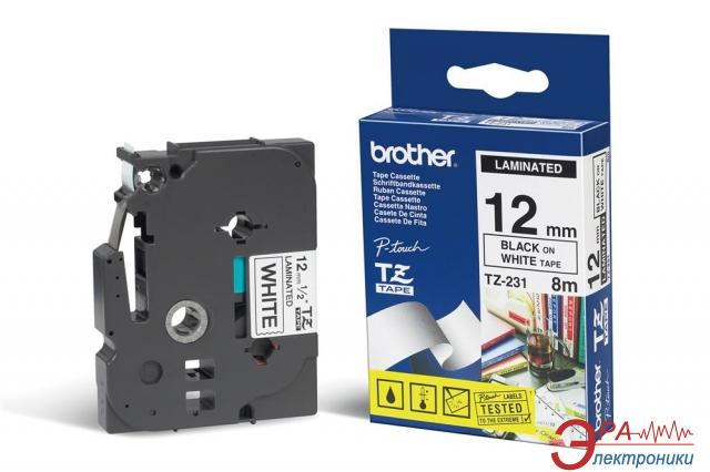 Лента клеящаяся Brother 12mm white Print black (TZEN231)