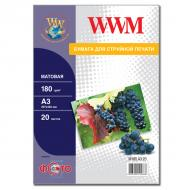 Бумага для фотопринтера WWM (M180.A3.20)