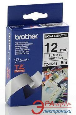 Лента клеящаяся Brother 12mm white Print black (TZN231)