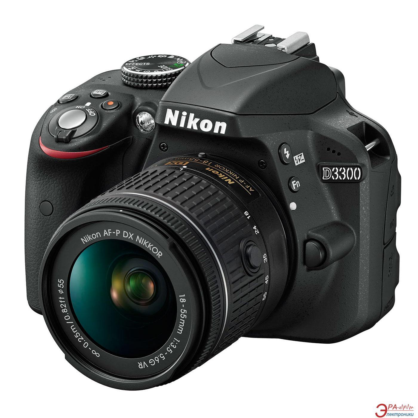 Зеркальная фотокамера Nikon D3300 + AF-P 18-55 VR KIT (VBA390K008) Black