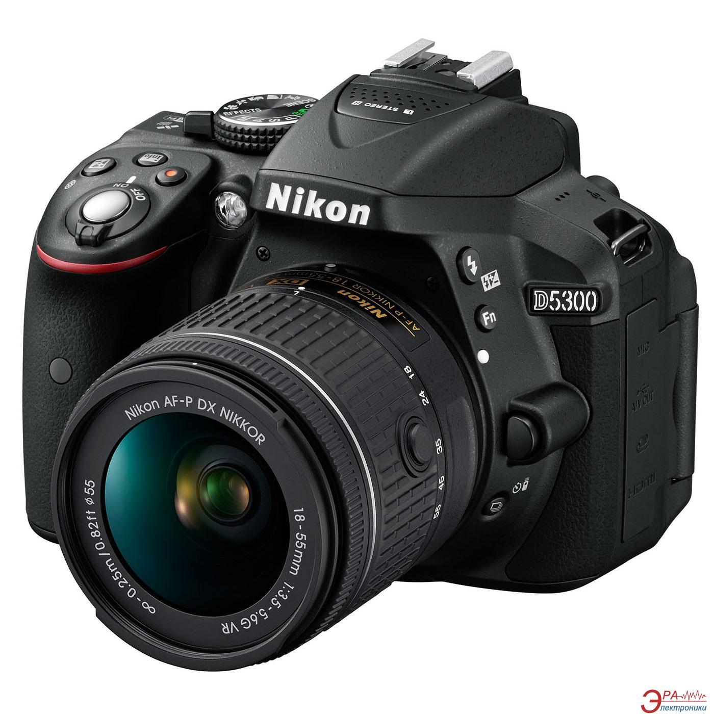Зеркальная фотокамера Nikon D5300 + AF-P 18-55VR kit (VBA370K007) Black
