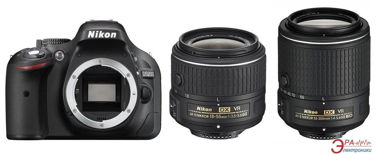 Зеркальная фотокамера Nikon D5200 kit 18-55 VR II + 55-200 VR II (VBA350K011) Black