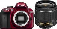 Зеркальная фотокамера Nikon D3300 Kit 18-55 VR AF-P (VBA391K002) Red