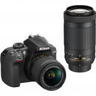 Зеркальная фотокамера Nikon D3400 + AF-P 18-55 VR + AF-P 70-300VR (VBA490K005) Black