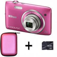 Цифровой фотоаппарат Nikon COOLPIX S3500 Premium Kit Pink (VNA295KG01) + кожаный чехол + карта памяти 8 GB