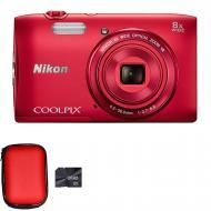 �������� ����������� Nikon Coolpix S3600 Red (VNA552KV01) + case + 8GB SD
