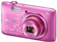 Цифровой фотоаппарат Nikon Coolpix S3600 lineart Pink (VNA555KV01) + case + 8GB SD