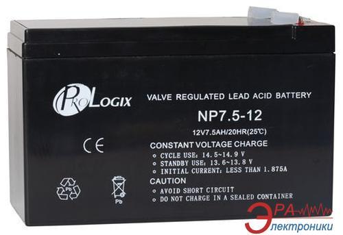 Аккумуляторная батарея PrologiX 12В 7.5 Ач (NP7,5-12)