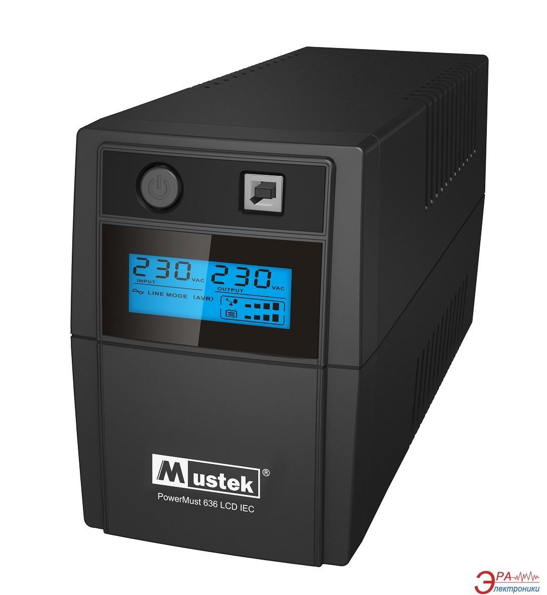 ИБП Mustek PowerMust 636 LCD (650VA), Line Int., Schuko (98-LIC-L0636)
