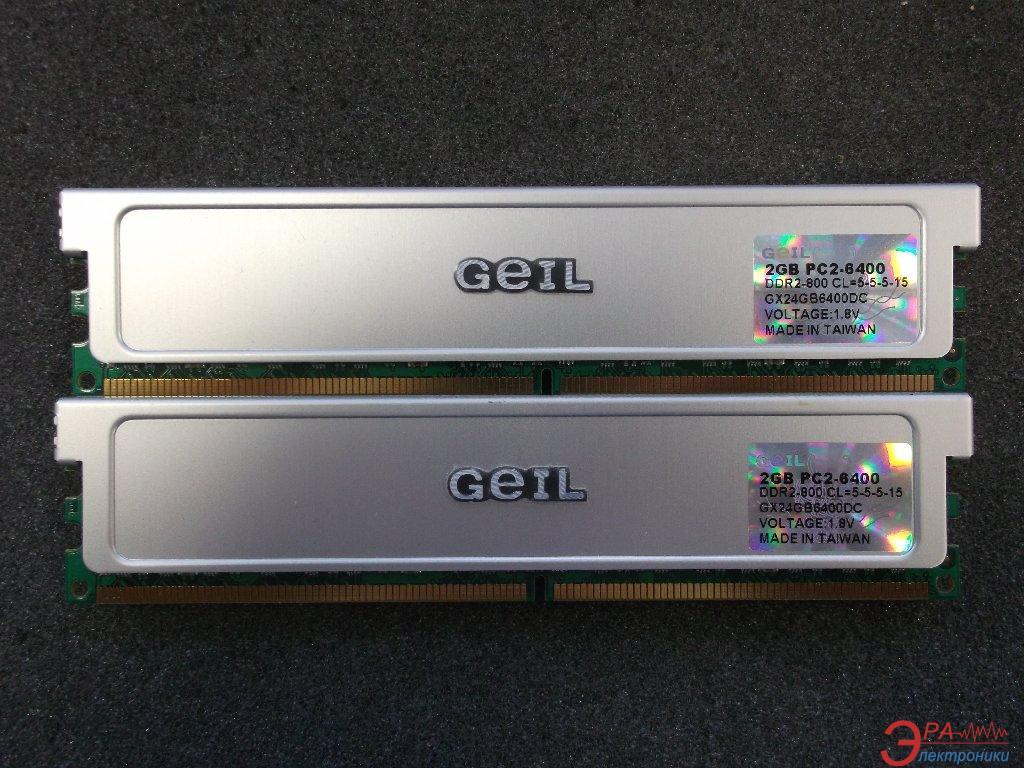 Оперативная память DDR2 2x2 Гб 800 MHz PC6400 Geil (GX24GB6400DC)