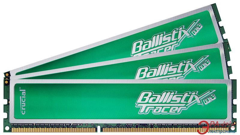 Оперативная память DDR3 3x2 Гб 1600 МГц Crucial Ballistix Tracer Green (BL3KIT25664TG1608)