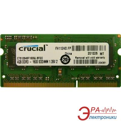 Оперативная память SO-DIMM DDR3L 4 Gb 1600 МГц Micron (CT51264BF160BJ)