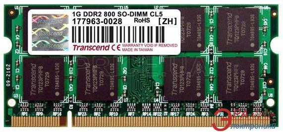 Оперативная память SO-DIMM DDR2 1 Gb 800 МГц Transcend Jetram