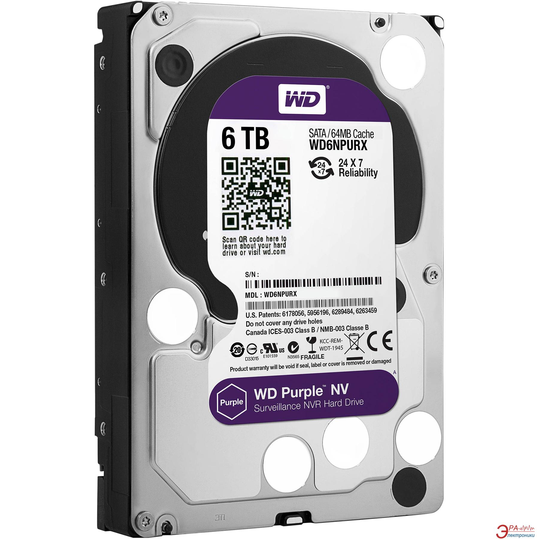 Жесткий диск 6TB WD Purple NV (WD6NPURX)