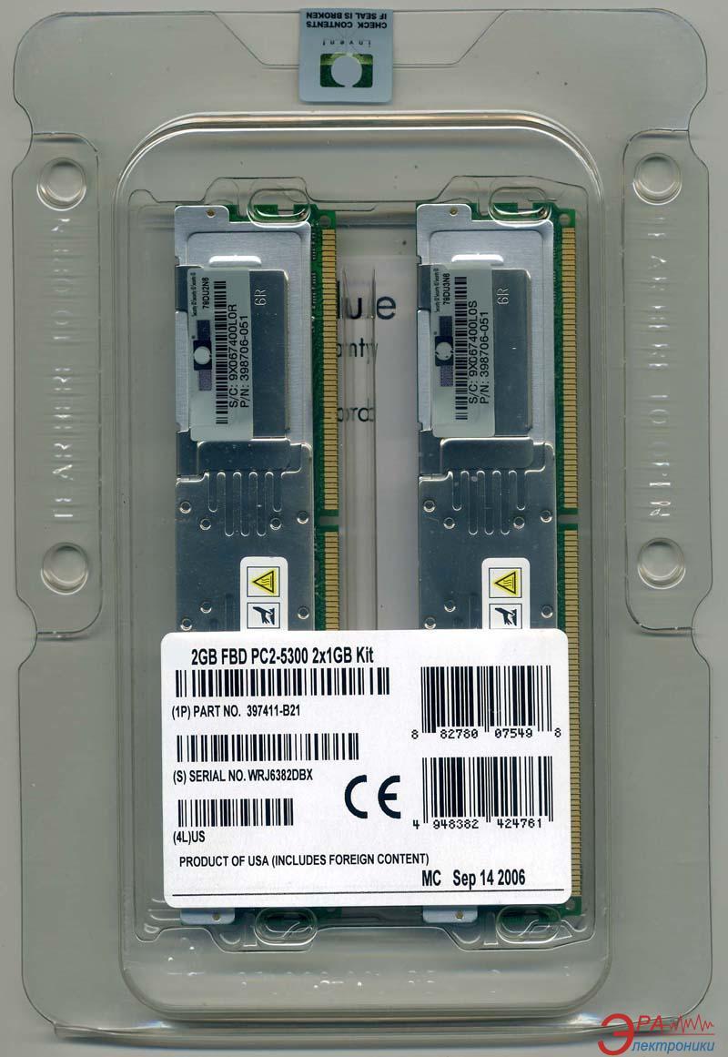 DDR3 ECC FB-DIMM 240-контактный 2x512 Mb 667 MHz HP FBD kit for Intel (397409-B21)