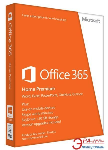 Пакет офисных приложений Microsoft Office 365 Home Premium Russian Subscr 1YR Medialess (6GQ-00177)