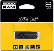 Флеш память USB 2.0 Goodram 8 Гб TWISTER Black clip (PD8GH2GRTSKKR9)