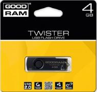 Флеш память USB 2.0 GoodDrive 4 Гб TWISTER RETAIL 9 Black clip (PD4GH2GRTSKKR9)