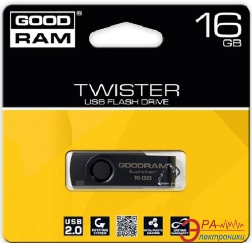 Флеш память USB 2.0 GoodDrive 16 Гб TWISTER RETAIL 9 Black clip (PD16GH2GRTSKKR9)