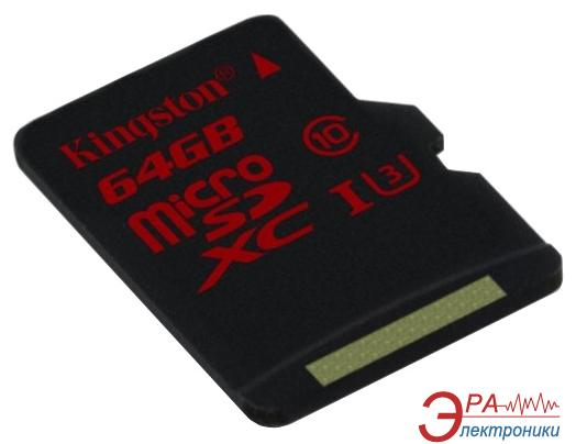 Карта памяти Kingston 64Gb microSD Class 10 UHS Class 3 (SDCA3/64GBSP)