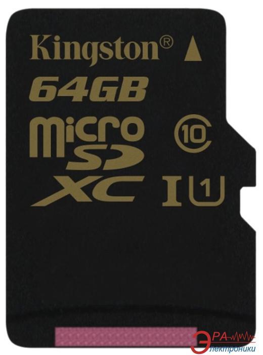 Карта памяти Kingston 64Gb microSD Class 10 UHS Class 1 (SDCA10/64GBSP)
