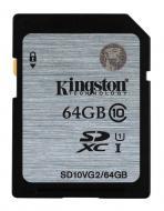 ����� ������ Kingston 64Gb SD Class 10 UHS-I SDHC R45MB/s (SD10VG2/64GB)