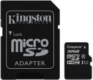 Карта памяти Kingston 32Gb microSD Class 10 UHS-I microSDHC R45/W10MB/s + SD адаптер (SDC10G2/32GB)