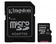 Карта памяти Kingston 128Gb microSD Class 10 UHS-I microSDXC R45/W10MB/s + SD адаптер (SDC10G2/128GB)
