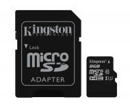 Карта памяти Kingston 8Gb microSD Class 10 UHS-I microSDHC R45/W10MB/s + SD адаптер (SDC10G2/8GB)