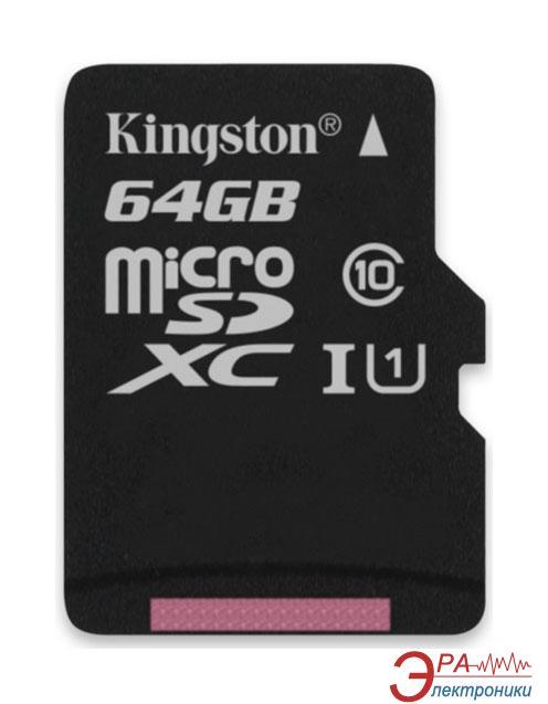 Карта памяти Kingston 64Gb microSD Class 10 UHS-I microSDXC R45/W10MB/s (SDC10G2/64GBSP)