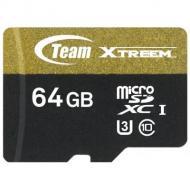 Карта памяти Team 64Gb microSD Class 10 UHS U3 + SD adapter (TUSDX64GU303)