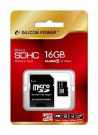 ����� ������ Silicon Power 16Gb microSD Class 10 + SD-adapter (SP016GBSTH010V10SP)