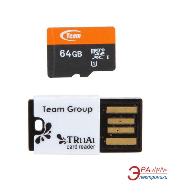 Карта памяти Team 64Gb microSD Class 10 UHS-1 + Reader TR11A1 (TUSDX64GUHS29)