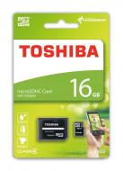 Карта памяти Toshiba 16Gb microSD Class 4 + SD adapter (THN-M102K0160M2)