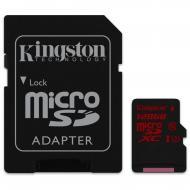 Карта памяти Kingston 128Gb microSD Class 10 UHS U3 + SD adapter (SDCA3/128GB)