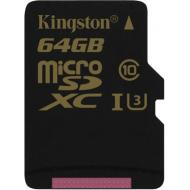 Карта памяти Kingston 64Gb microSD Class 10 UHS-I U3 + Adaptor (SDCG/64GB)